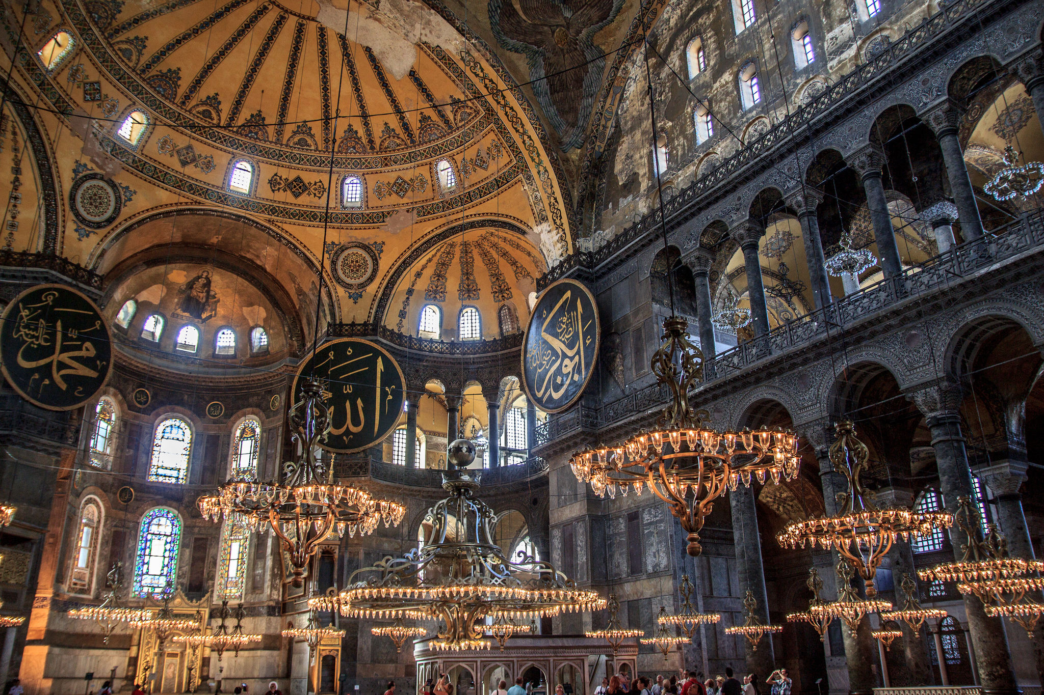 Istanbul a story told in two continents findingmyway istanbul04photobybenmorlokflickr the massive interior of hagia sophia with its hanging chandeliers aloadofball Images
