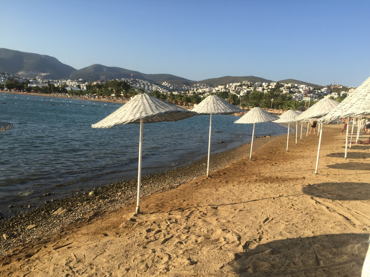The public beach in Gumbet, just a few minutes from the private islands near Bodrum City.